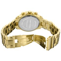 Vernier Women's Large Gold Tone Chrono-Look Dial Dual Time Watch
