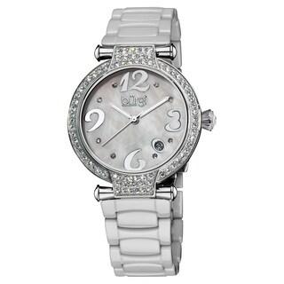 Burgi Women's Quartz Date Ceramic White Bracelet Watch