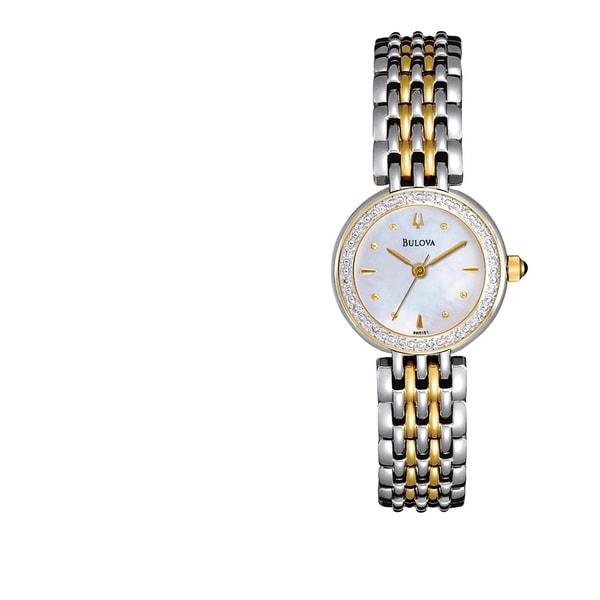 Bulova Women's 'Diamonds' Two-tone Stainless Steel Quartz Watch