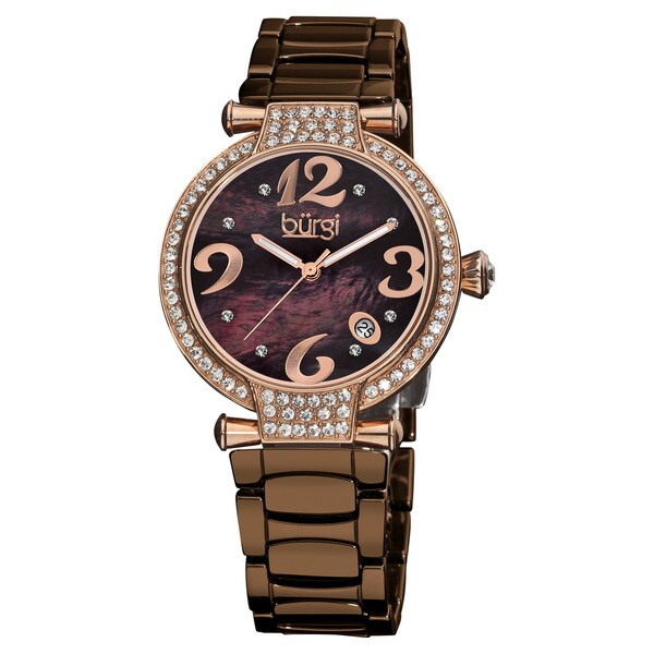 Burgi Women's Brown Ceramic Quartz Bracelet Watch with Date