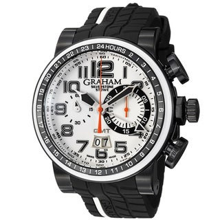 Graham Men's 2BLCD.W04A 'Silverstone' White Dial Rubber Strap Chronograph Watch