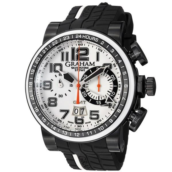 Graham Men's 2BLCD.W04A 'Silverstone' White Dial Rubber Strap Chronograph Watch