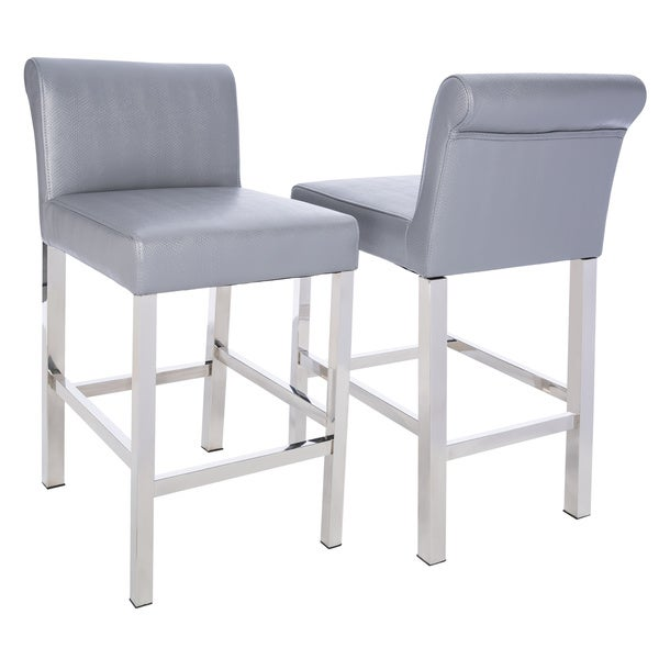 Cosmopolitan Stainless Steel Charcoal Snake Leather Counter Stools (Set Of  2)   Free Shipping Today   Overstock.com   14430938