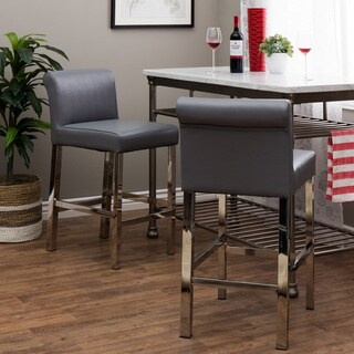 Oliver & James Cosmopolitan Stainless Steel Charcoal Snake Leather Counter Stools (Set of 2)