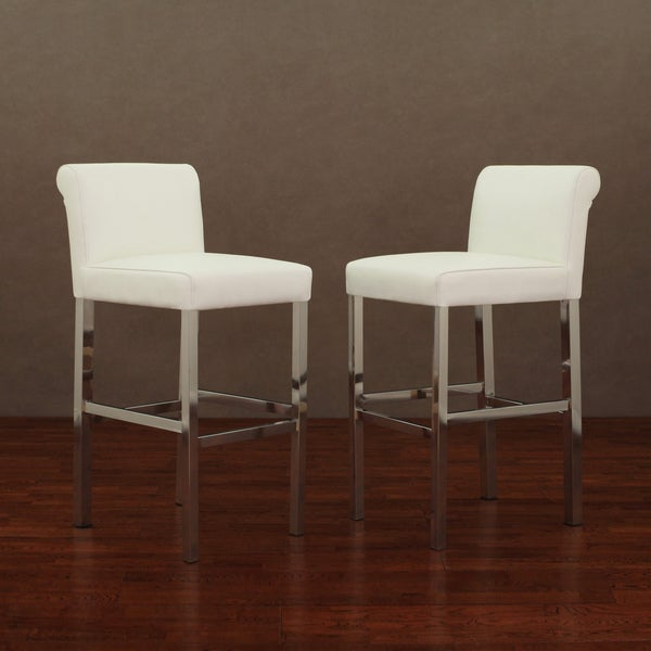 Cosmopolitan Stainless Steel White Snake Leather Bar Stools (Set of 2)