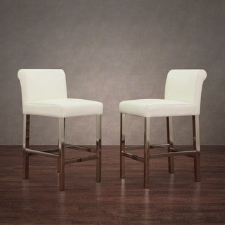 stainless steel white snake leather counter stools set of 2