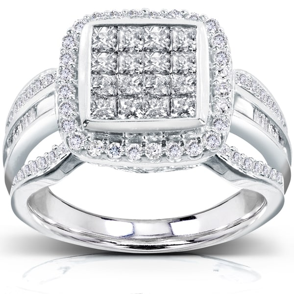 Annello by Kobelli 14k White Gold 1ct TDW Diamond Composite Halo Engagement Ring (H-I, I1
