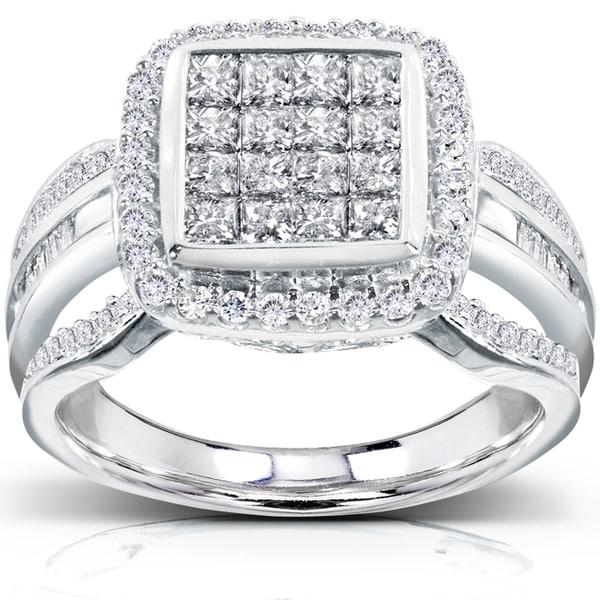 Annello by Kobelli 14k White Gold 1ct TDW Diamond Composite Halo Engagement Ring (H-I, I1