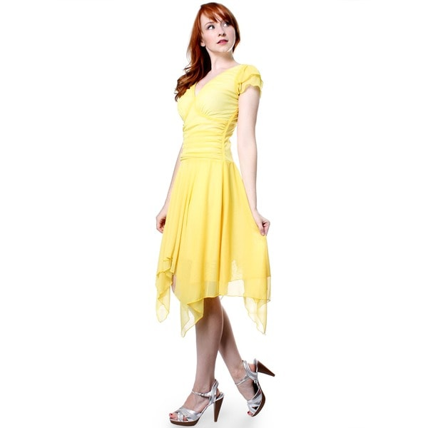 Evanese Women's Double Layered Asymmetrical Handkerchief Skirt Dress