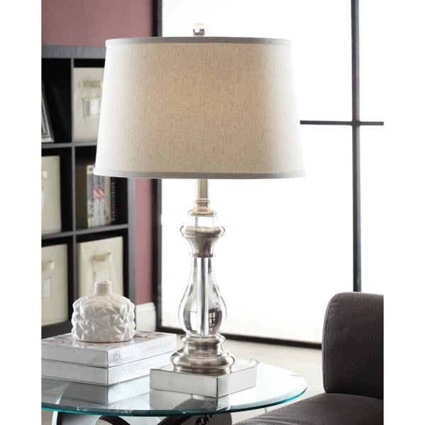 Crystal Curve Table Lamp with Cream Shade