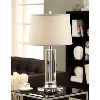 Column Clear Crystal Chrome Table Lamp With Grey Shade