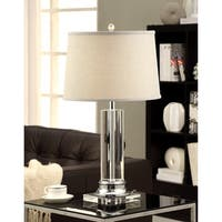 Clay Alder Crystal Column Table Lamp with Grey Shade