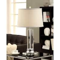 Column Clear Crystal/Chrome Table Lamp with Grey Shade