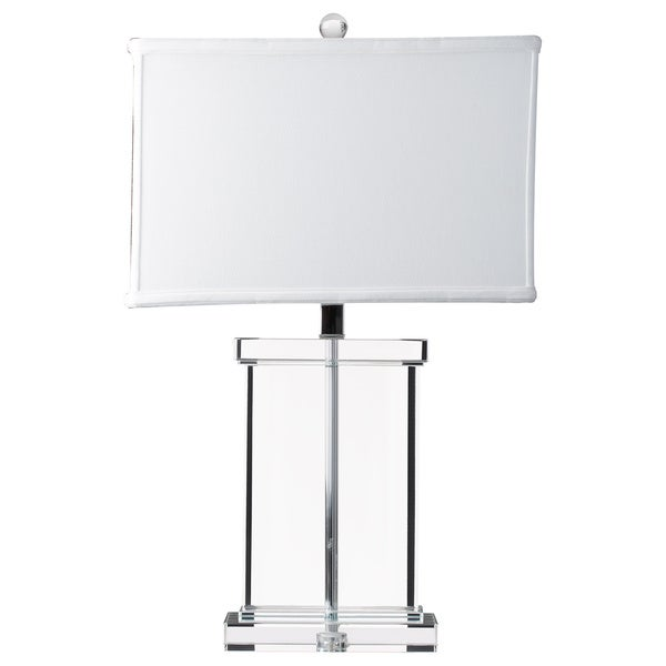 Crystal Rectangular White Shade Table Lamp   Free Shipping Today    Overstock.com   14430975