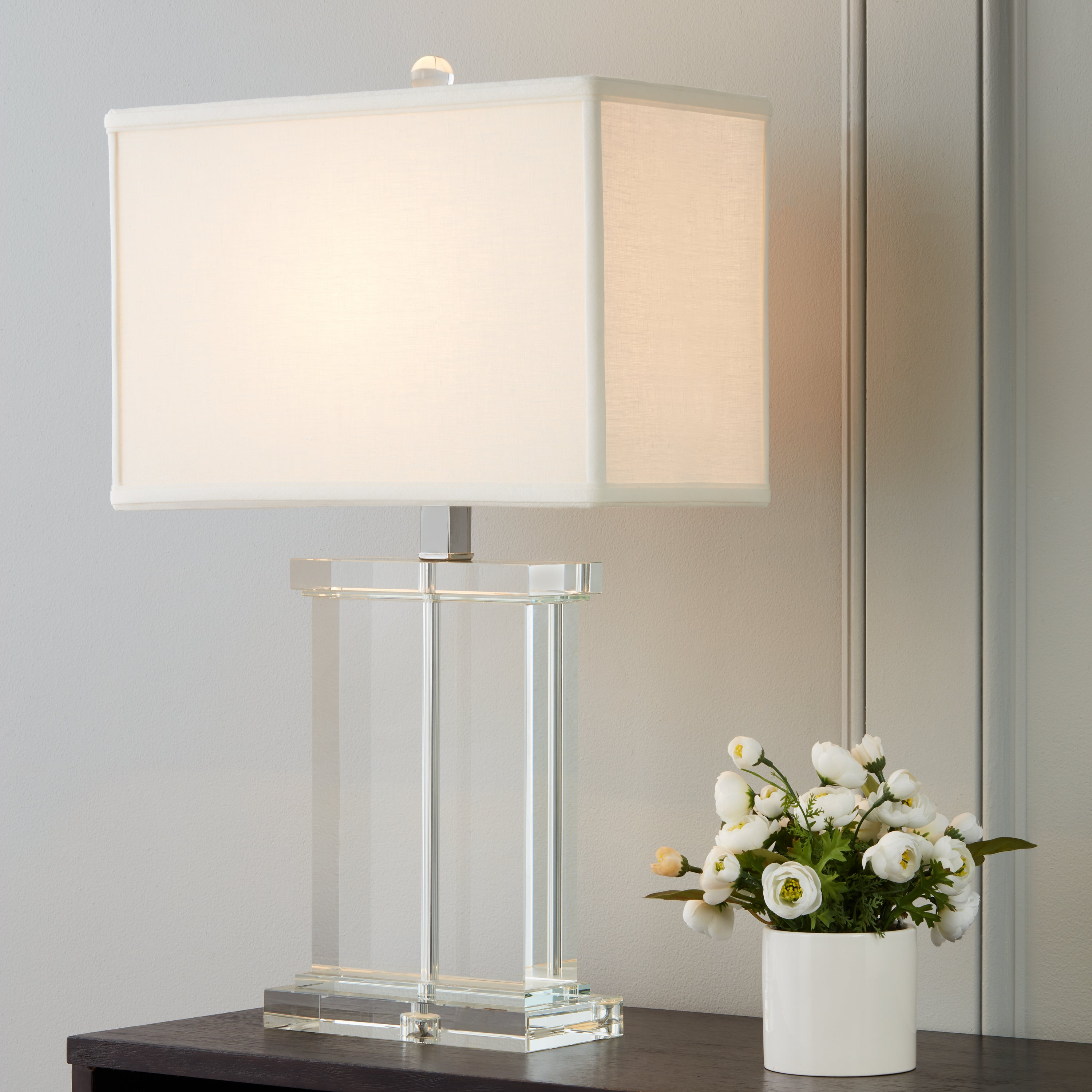Silver Orchid Crystal Rectangular White Fabric Shade Chrome Based Contemporary Table Lamp Overstock 6911434