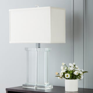 Clay Alder Home Crystal Rectangular White Fabric Shade Chrome-based Contemporary Table Lamp