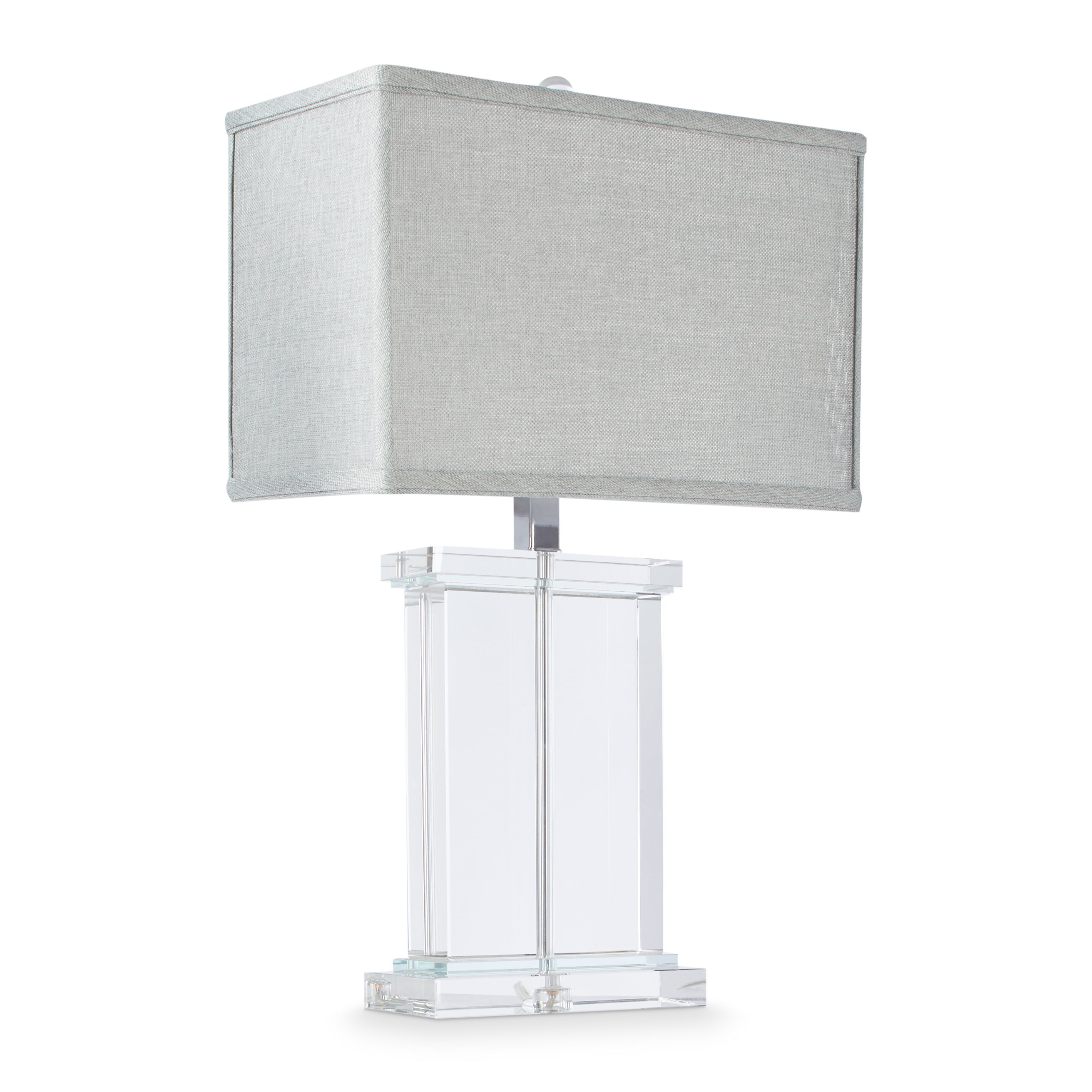 Shop Silver Orchid Crystal Rectangular Table Lamp With Grey Shade Overstock 6911437
