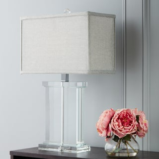Silver Orchid Crystal Rectangular Table Lamp with Grey Shade