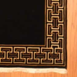 Indo Hand-knotted Tibetan Black/ Ivory Wool Rug (3'6 x 5'7) - Thumbnail 2