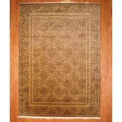 Herat Oriental Indo Hand-knotted Tibetan Brown/ Beige Wool Rug (8'11 x 12'6)