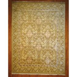 Herat Oriental Indo Hand-knotted Tibetan Light Brown/ Ivory Wool Rug (9' x 12')