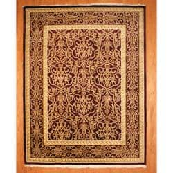 Herat Oriental Indo Hand-knotted Tibetan Wool Rug (9'1 x 11'9)|https://ak1.ostkcdn.com/images/products/6911505/80/257/Indo-Hand-knotted-Tibetan-Burgundy-Ivory-Wool-Rug-91-x-119-P14431045.jpg?impolicy=medium