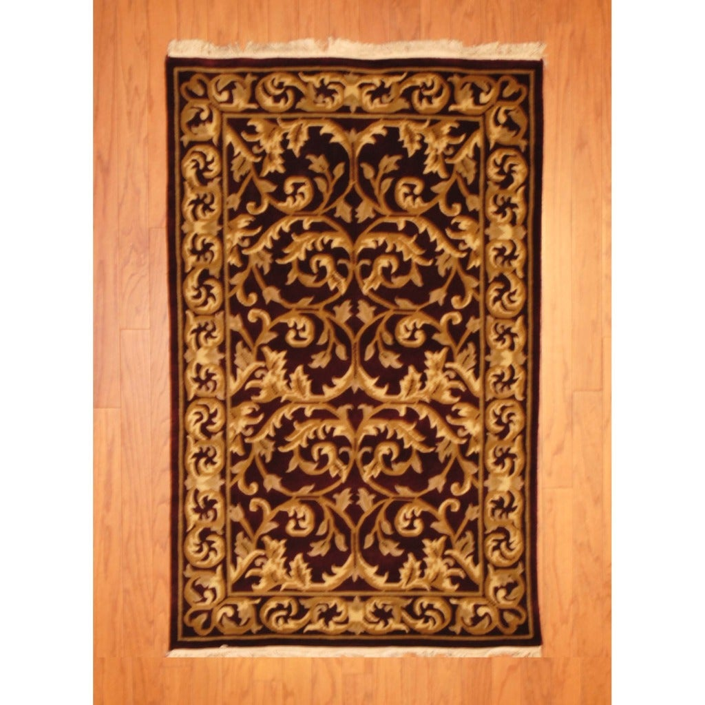 Indo Hand-knotted Tibetan Burgundy/ Ivory Wool Rug (3' x 5')