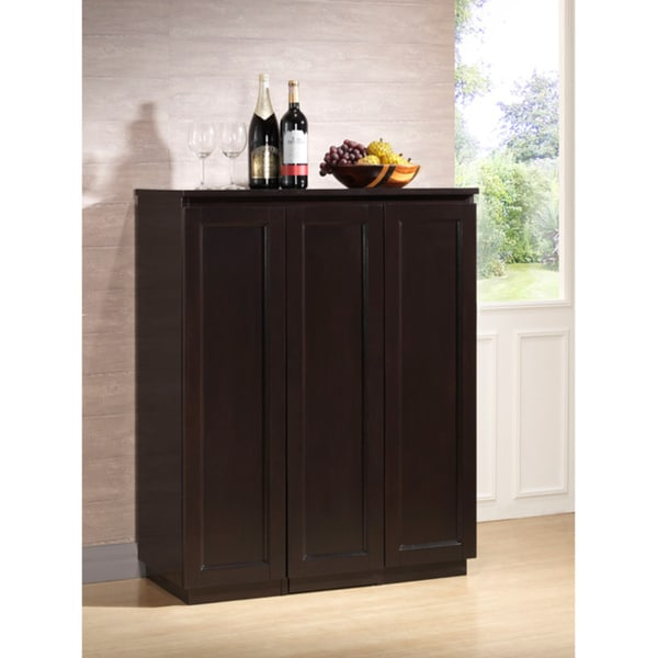 Traditional Dark Brown Wood Wine Cabinet by Baxton Studio ...