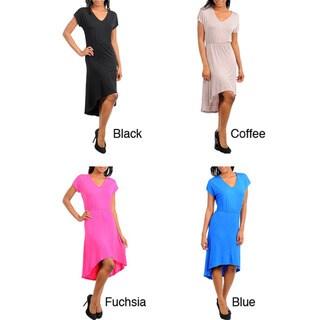 Stanzino Women's V-neck Short Sleeve High-low Dress