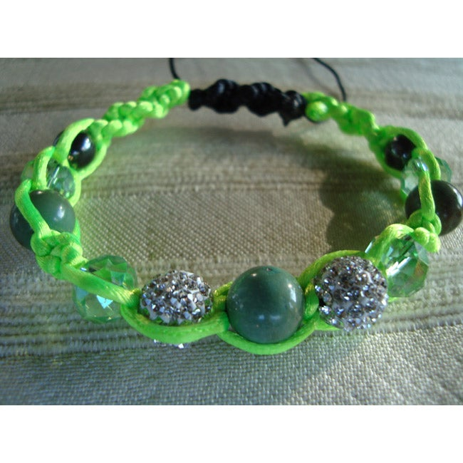 Handcrafted Macrame Bracelet In Shades Of Green and Silver