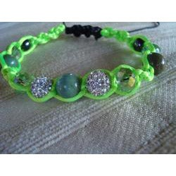 Handcrafted Macrame Bracelet In Shades Of Green and Silver - Thumbnail 1