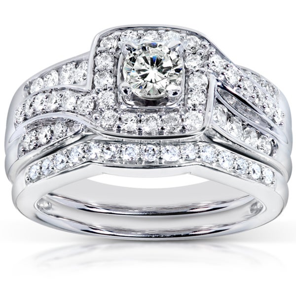 Annello by Kobelli 14k White Gold 1ct TDW Diamond Bridal Rings Set