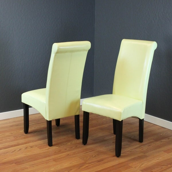 Shop Milan Wax Green Faux Leather Dining Chairs (Set Of 2