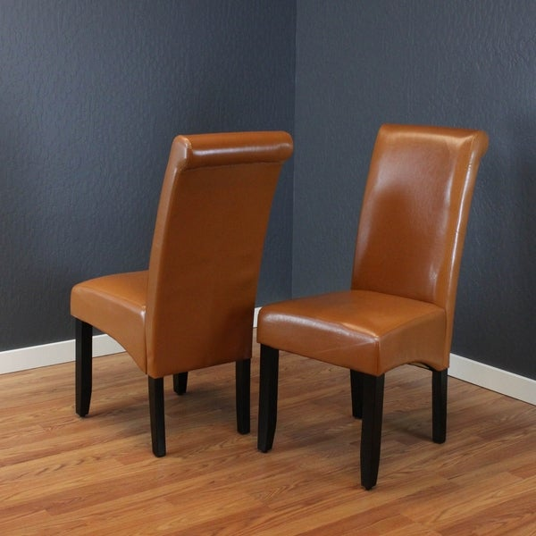 Shop Milan Brown Faux Leather Dining Chairs Set Of 2