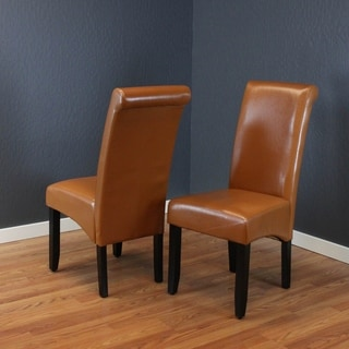 Milan Brown Faux Leather Dining Chairs (Set of 2)