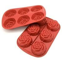 Freshware 6-Cavity Mini Rose Mold/ Baking Pan (Pack of 2)