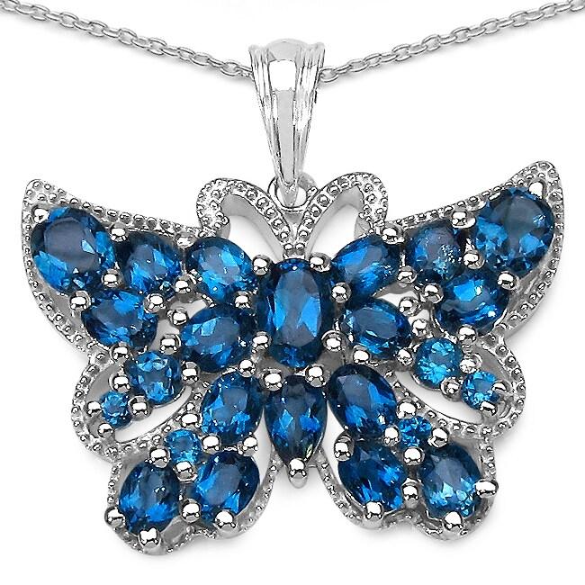 Malaika Sterling Silver 5 7/8ct TGW Blue Topaz Butterfly Necklace