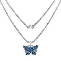 Malaika Sterling Silver 5 7/8ct TGW Blue Topaz Butterfly Necklace - Thumbnail 1