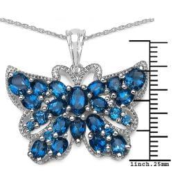 Malaika Sterling Silver 5 7/8ct TGW Blue Topaz Butterfly Necklace - Thumbnail 2