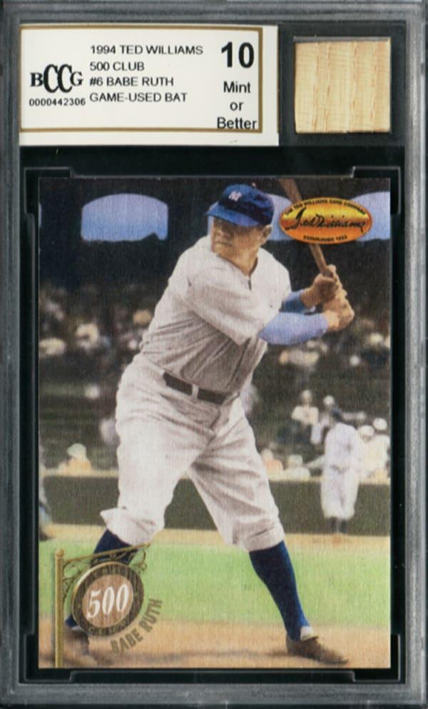 Babe Ruth Game Used Bat Mint (Green) 10 Ggum Card