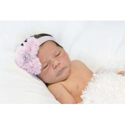 My Princess Tutus Hand-crafted Pink Rolled Flower Elastic Headband - Thumbnail 2