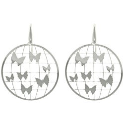 Carolina Glamour Collection Sterling Silver Laser-cut Round Butterfly Earrings
