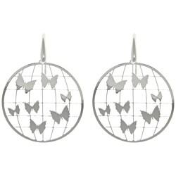 Sterling Silver Laser-cut Round Butterfly Earrings