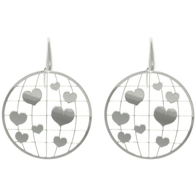 Carolina Glamour Collection Sterling Silver Heart Laser-cut Round Earrings