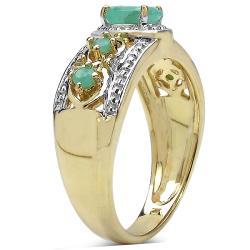 Malaika Gold over Silver 5/8ct TGW Emerald Ring - Thumbnail 1