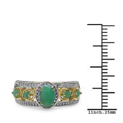 Malaika Gold over Silver 5/8ct TGW Emerald Ring - Thumbnail 2