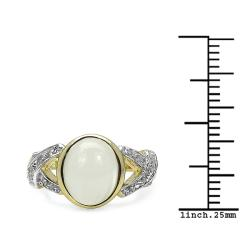 Malaika Gold over Silver 2 3/4ct TGW Moonstone and White Topaz Ring