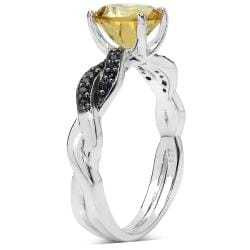 Malaika Sterling Silver 1 3/5ct TGW Citrine and Black Spinel Ring - Thumbnail 1