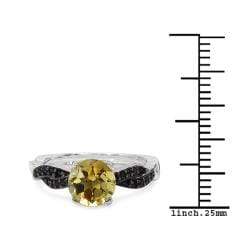 Malaika Sterling Silver 1 3/5ct TGW Citrine and Black Spinel Ring - Thumbnail 2