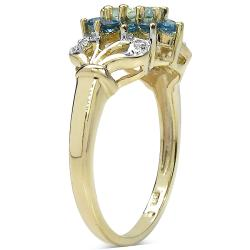Malaika Gold over Silver 7/8ct TGW Aquamarine and Blue Topaz Ring